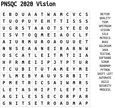 PNSQC 2020 Word Search