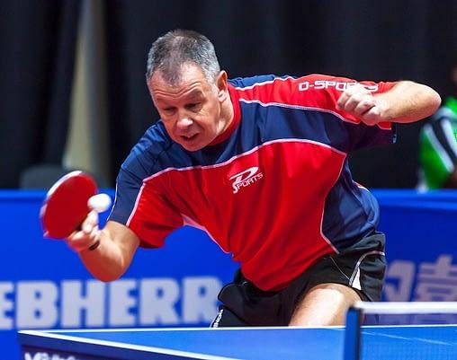Erik Van Veenendaal playing ping pong